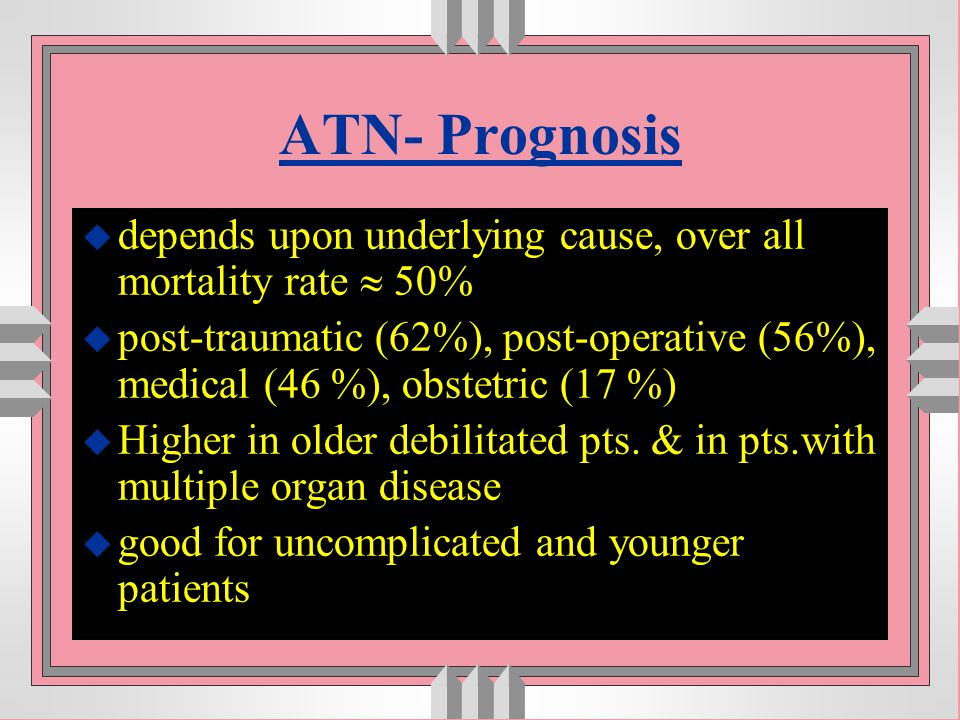 ATN- Prognosis depends upon underlying cause, over all mortality rate  50%