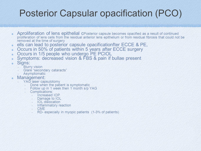 Posterior Capsular opacification (PCO)