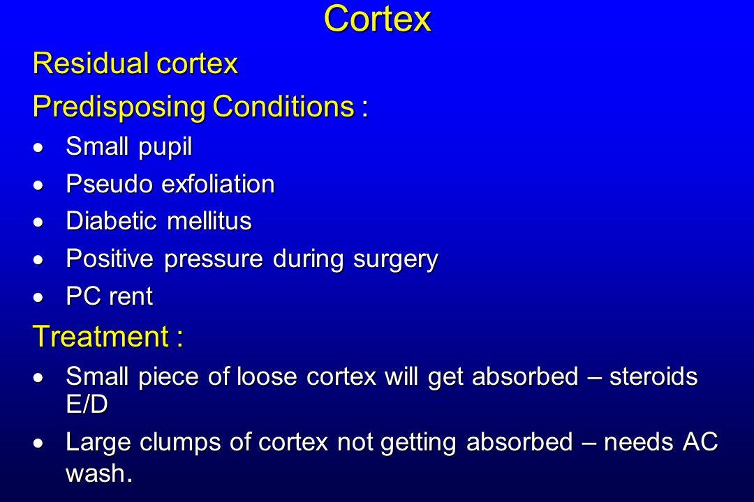 Cortex Residual cortex Predisposing Conditions : Treatment :