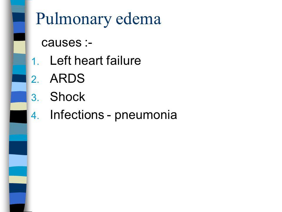 Pulmonary edema causes :- Left heart failure ARDS Shock