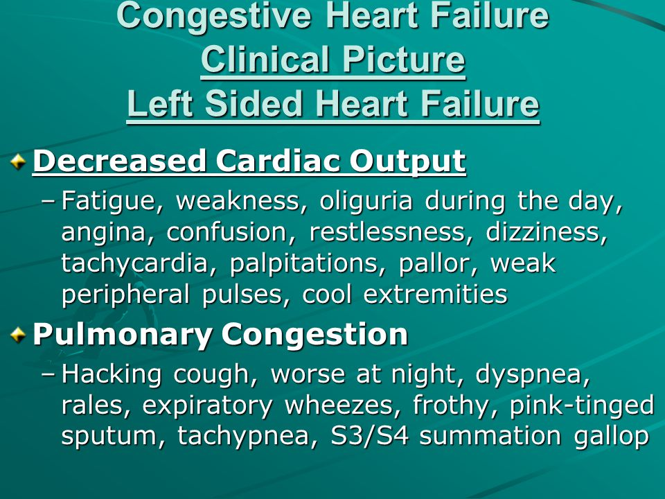 Congestive Heart Failure Clinical Picture Left Sided Heart Failure