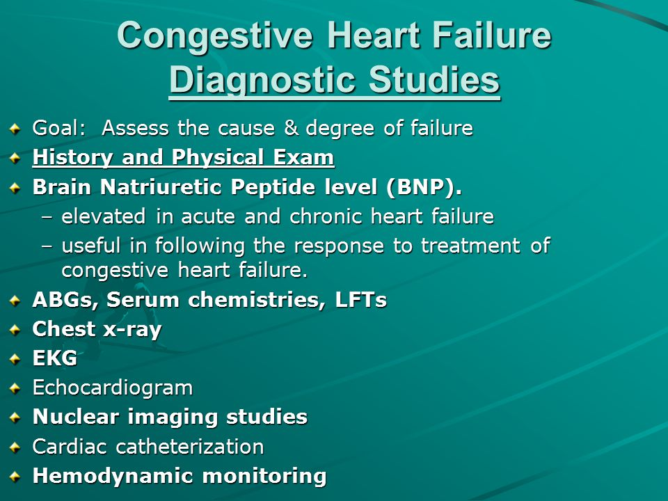 Congestive Heart Failure Diagnostic Studies