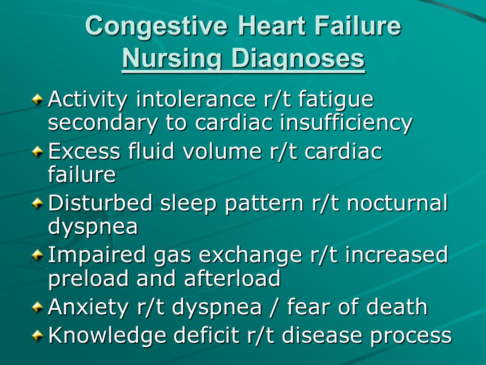 Congestive Heart Failure Nursing Diagnoses