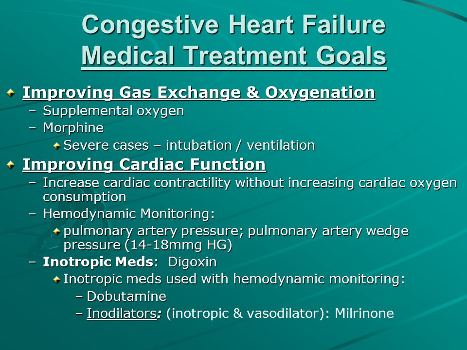 Congestive Heart Failure Medical Treatment Goals