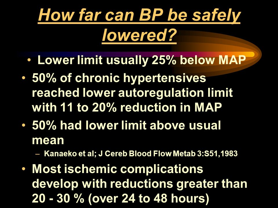How far can BP be safely lowered