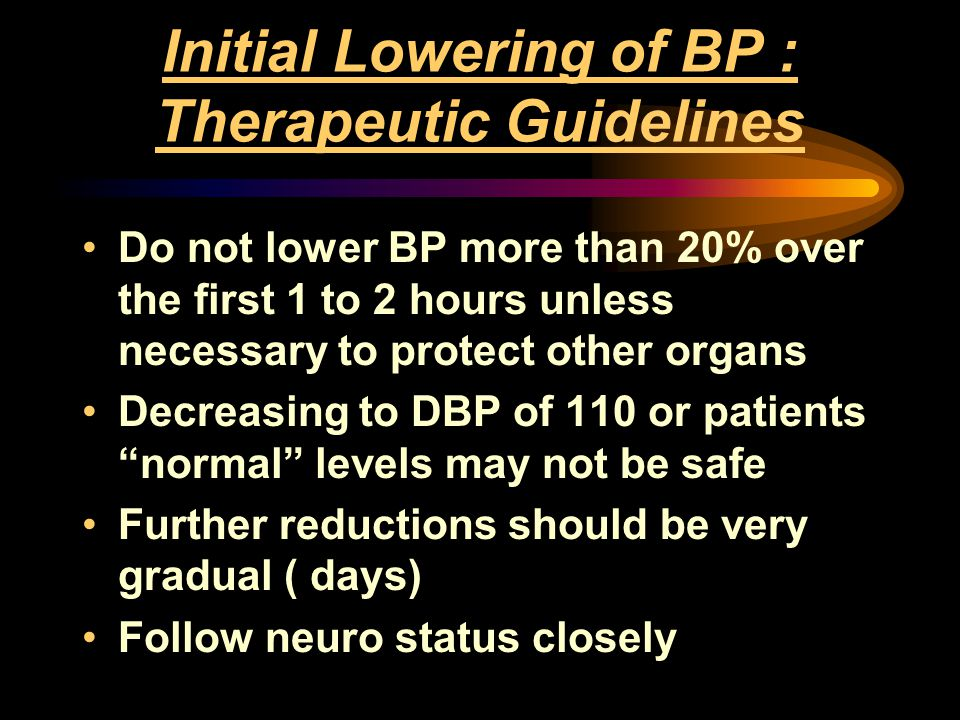 Initial Lowering of BP : Therapeutic Guidelines