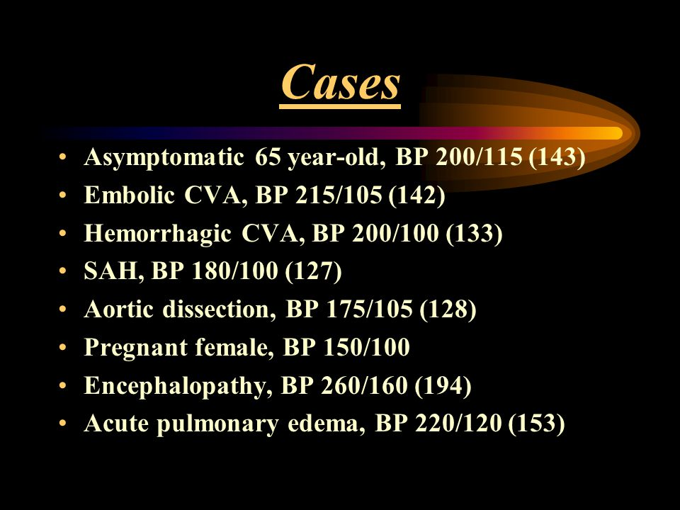 Cases Asymptomatic 65 year-old, BP 200/115 (143)