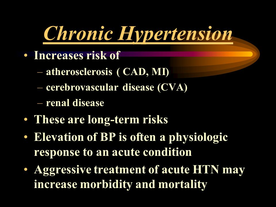 Chronic Hypertension Increases risk of These are long-term risks