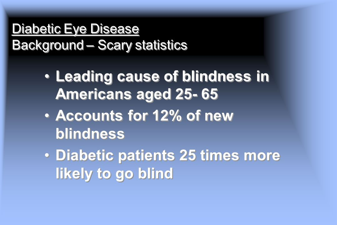 Diabetic Eye Disease Background – Scary statistics
