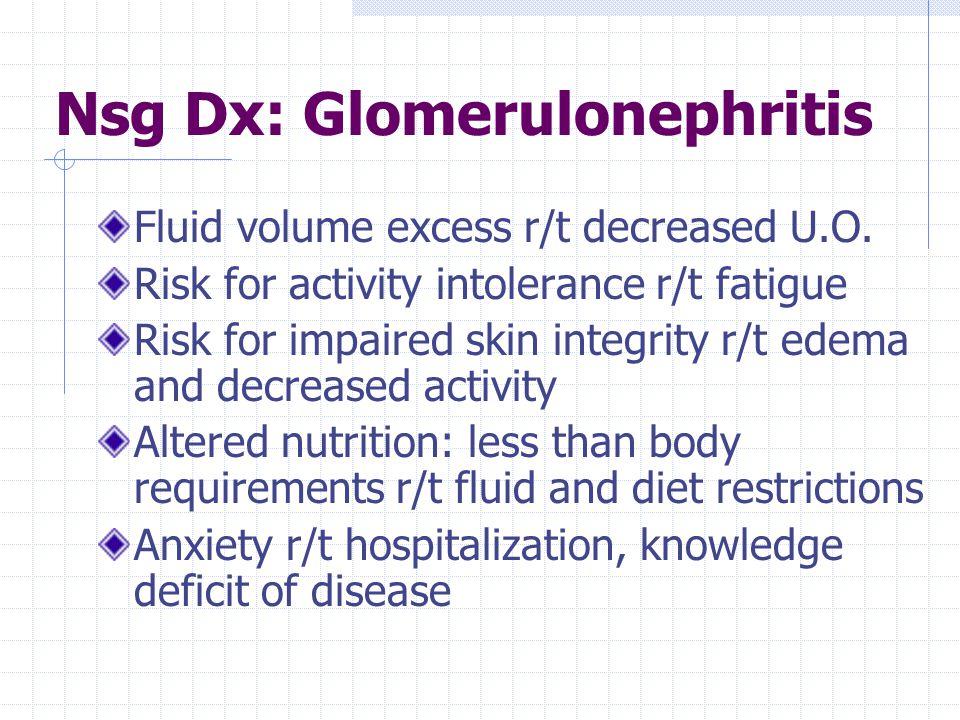 Nsg Dx: Glomerulonephritis