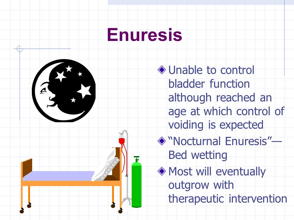 Enuresis Unable to control bladder function although reached an age at which control of voiding is expected.