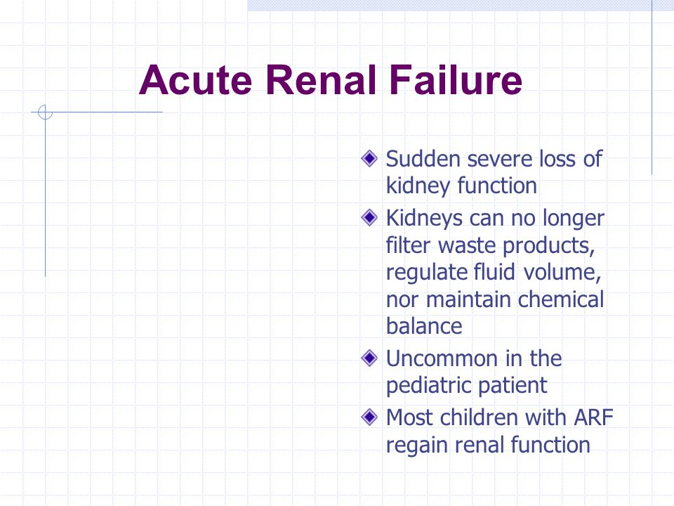 Acute Renal Failure Sudden severe loss of kidney function
