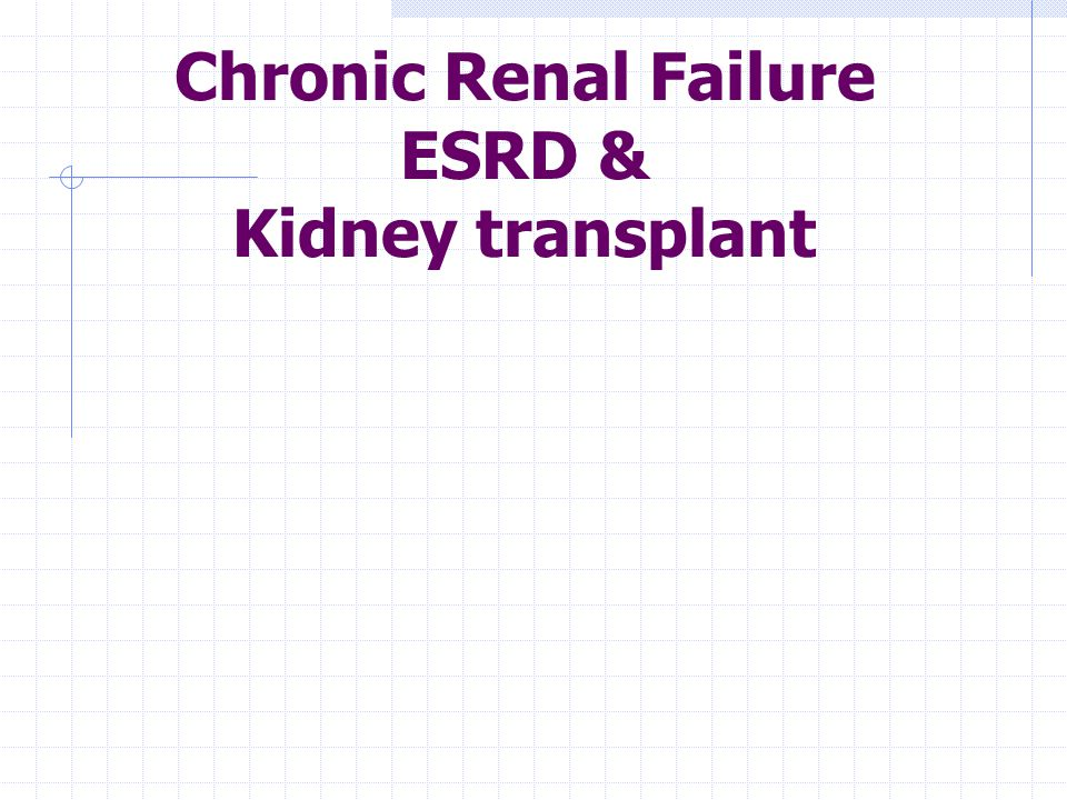 Chronic Renal Failure ESRD & Kidney transplant