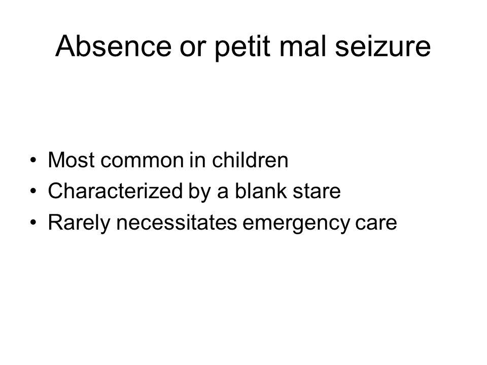 Absence or petit mal seizure