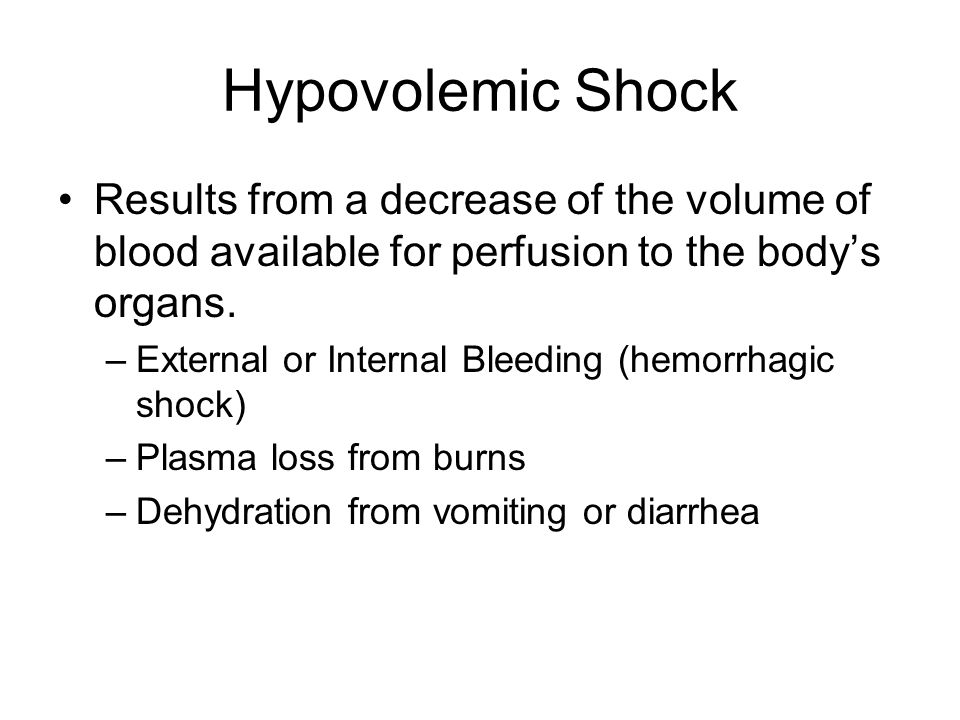 Hypovolemic Shock Results from a decrease of the volume of blood available for perfusion to the body's organs.