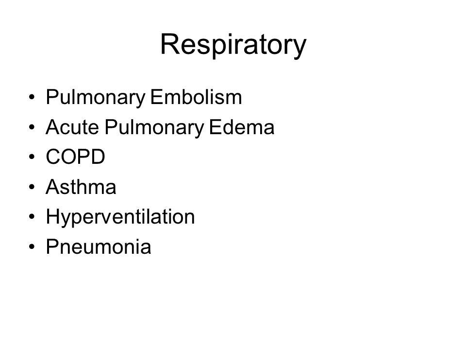 Respiratory Pulmonary Embolism Acute Pulmonary Edema COPD Asthma