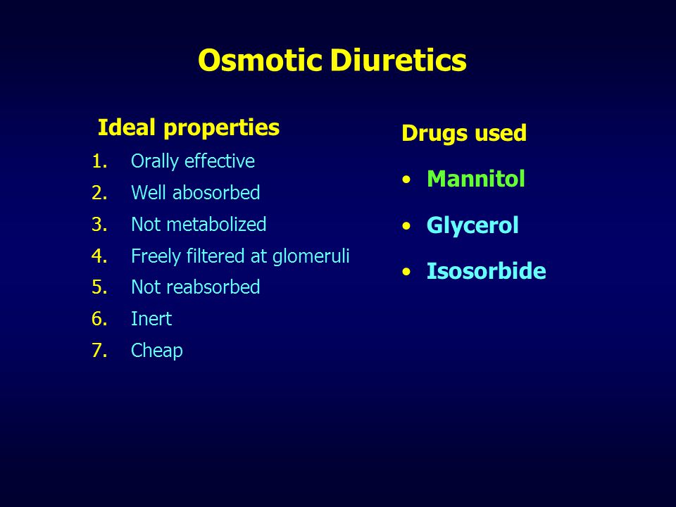 Osmotic Diuretics Ideal properties Drugs used Mannitol Glycerol