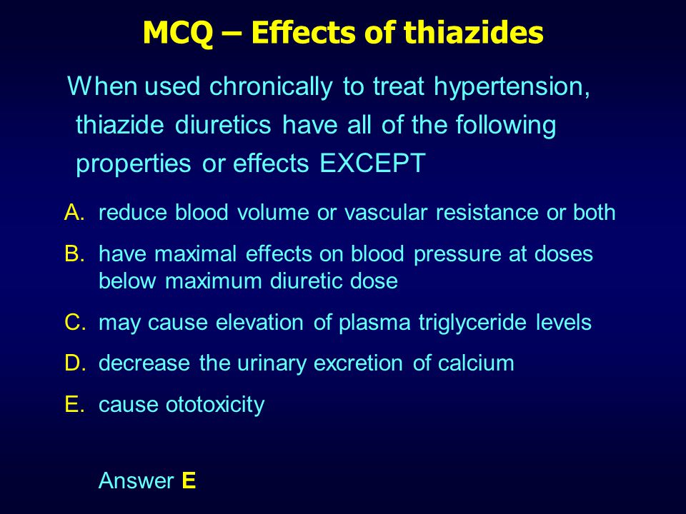MCQ – Effects of thiazides
