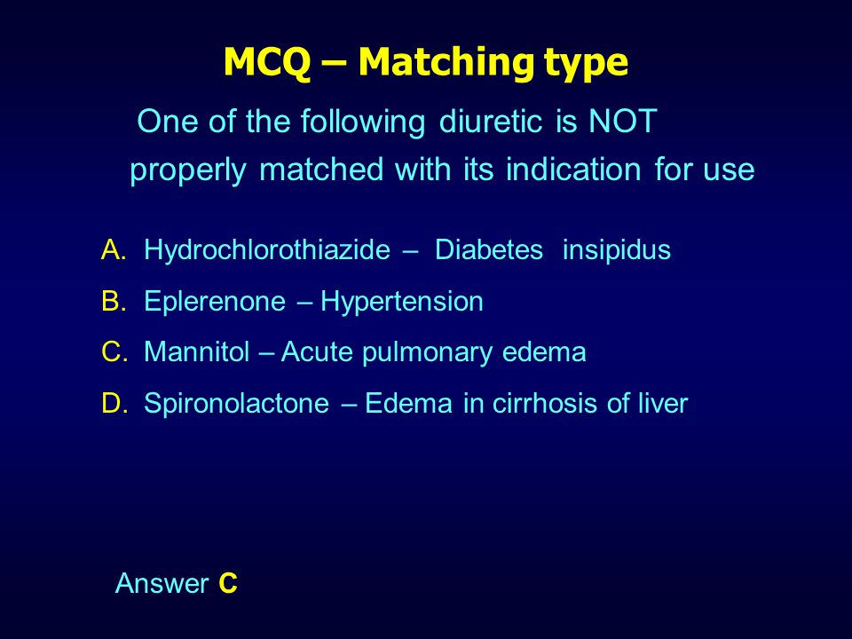 MCQ – Matching type One of the following diuretic is NOT properly matched with its indication for use.