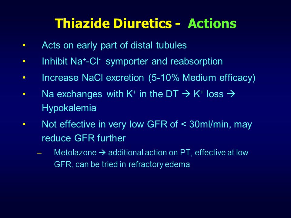 Thiazide Diuretics - Actions