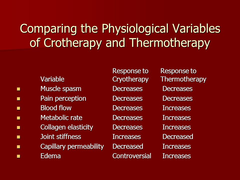 Comparing the Physiological Variables of Crotherapy and Thermotherapy