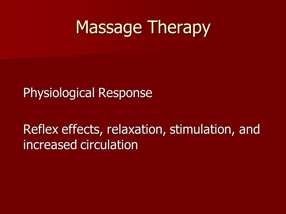 Massage Therapy Physiological Response.