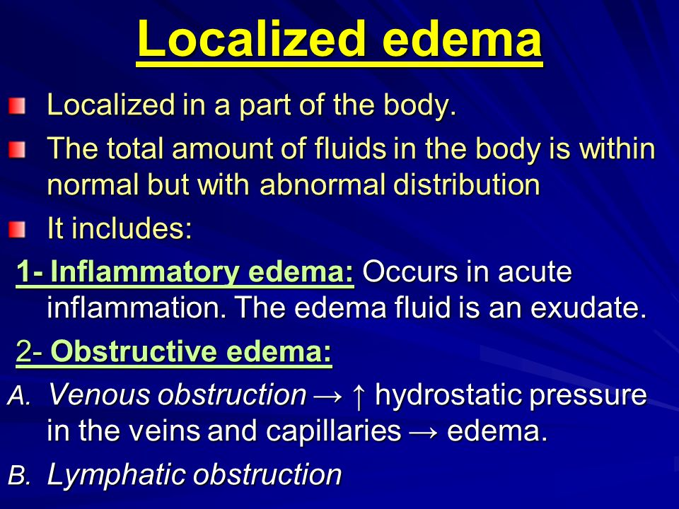 Localized edema Localized in a part of the body.