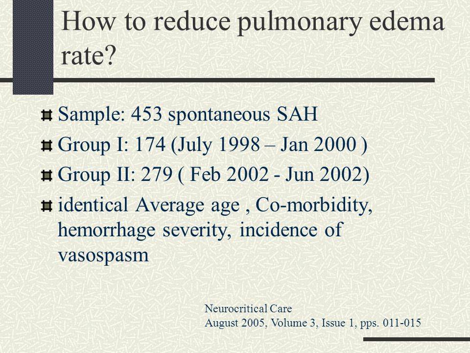 How to reduce pulmonary edema rate
