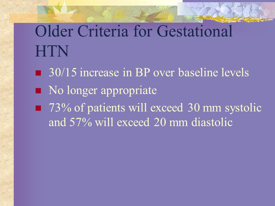Older Criteria for Gestational HTN