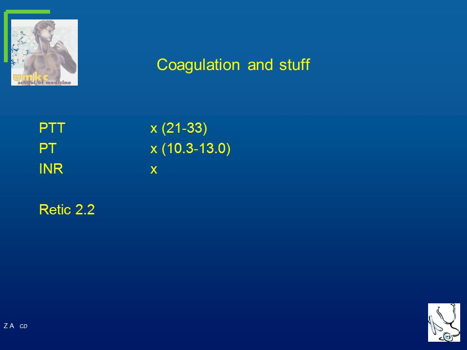 Coagulation and stuff PTT x (21-33) PT x (10.3-13.0) INR x Retic 2.2