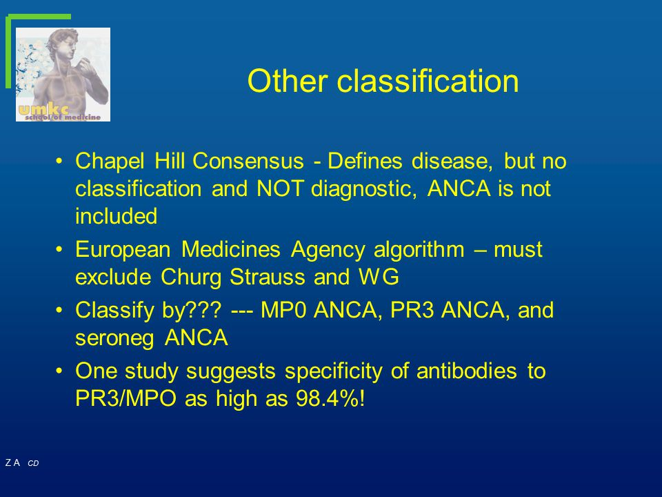 Other classification Chapel Hill Consensus - Defines disease, but no classification and NOT diagnostic, ANCA is not included.