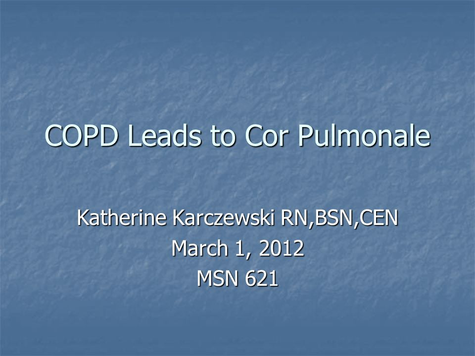 COPD Leads to Cor Pulmonale