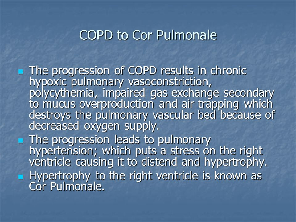 COPD to Cor Pulmonale