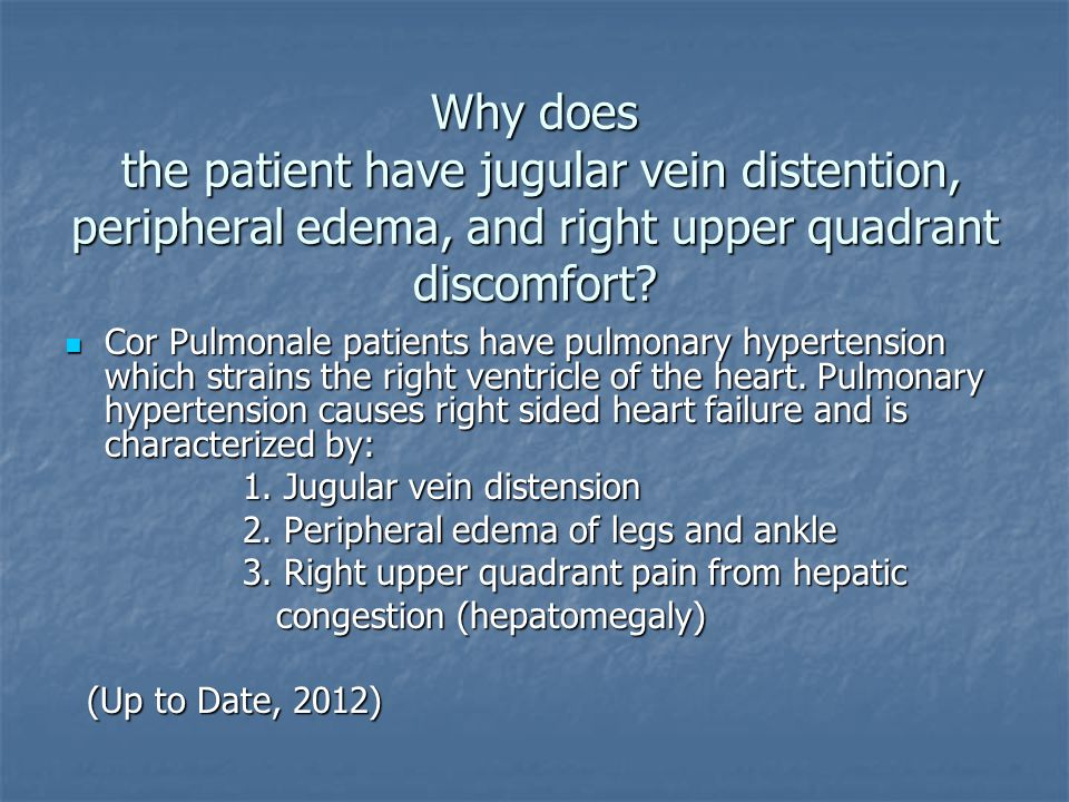 Why does the patient have jugular vein distention, peripheral edema, and right upper quadrant discomfort