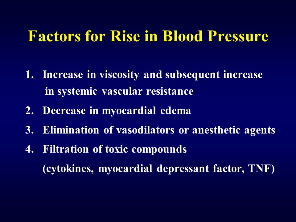Factors for Rise in Blood Pressure