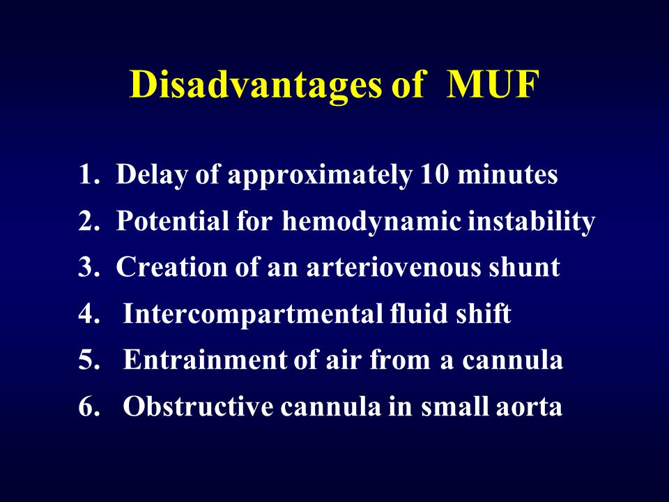 Disadvantages of MUF 1. Delay of approximately 10 minutes