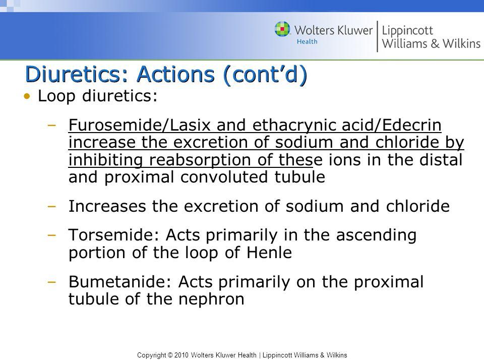Diuretics: Actions (cont'd)