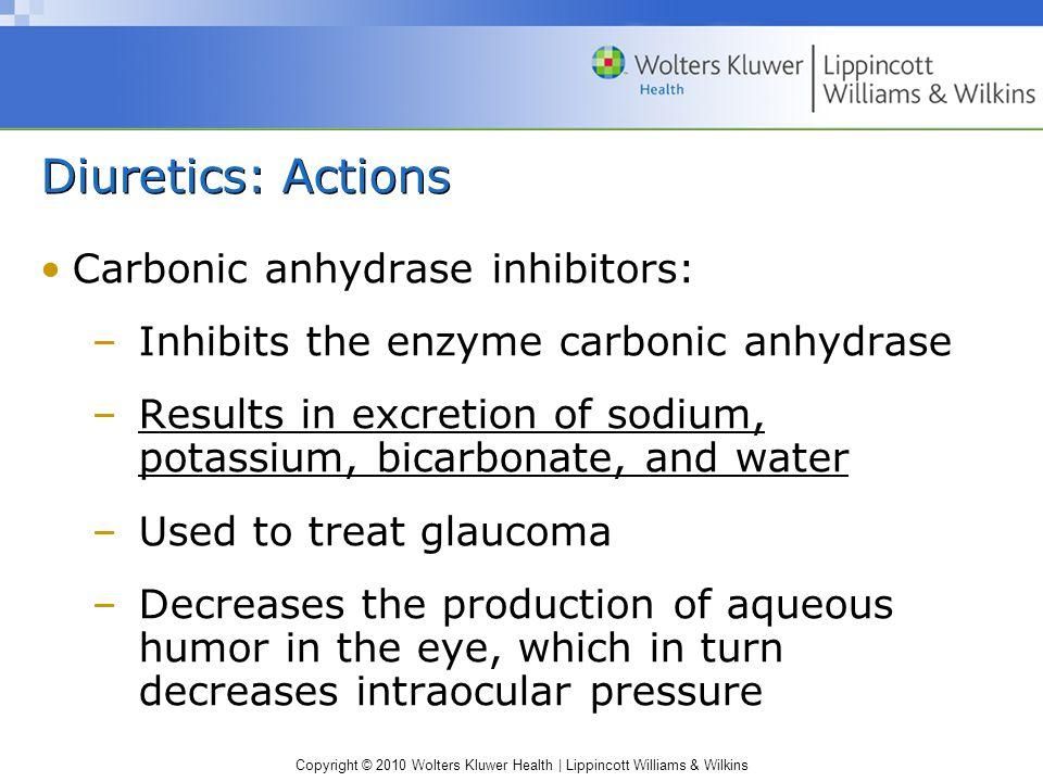 Diuretics: Actions Carbonic anhydrase inhibitors: