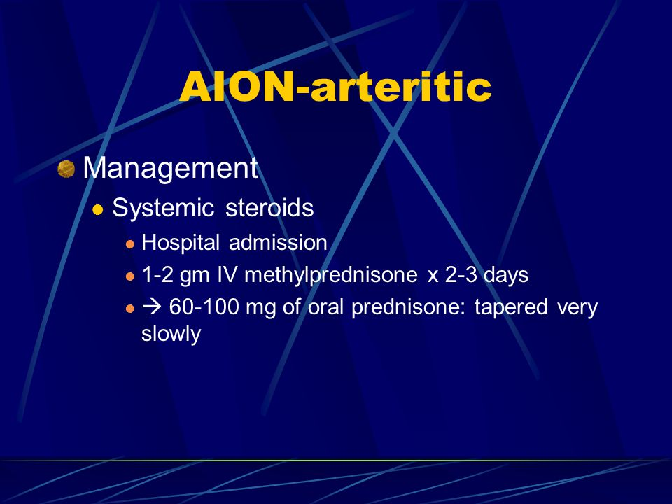 AION-arteritic Management Systemic steroids Hospital admission