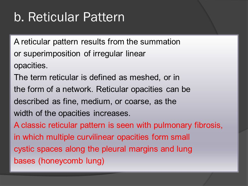 b. Reticular Pattern