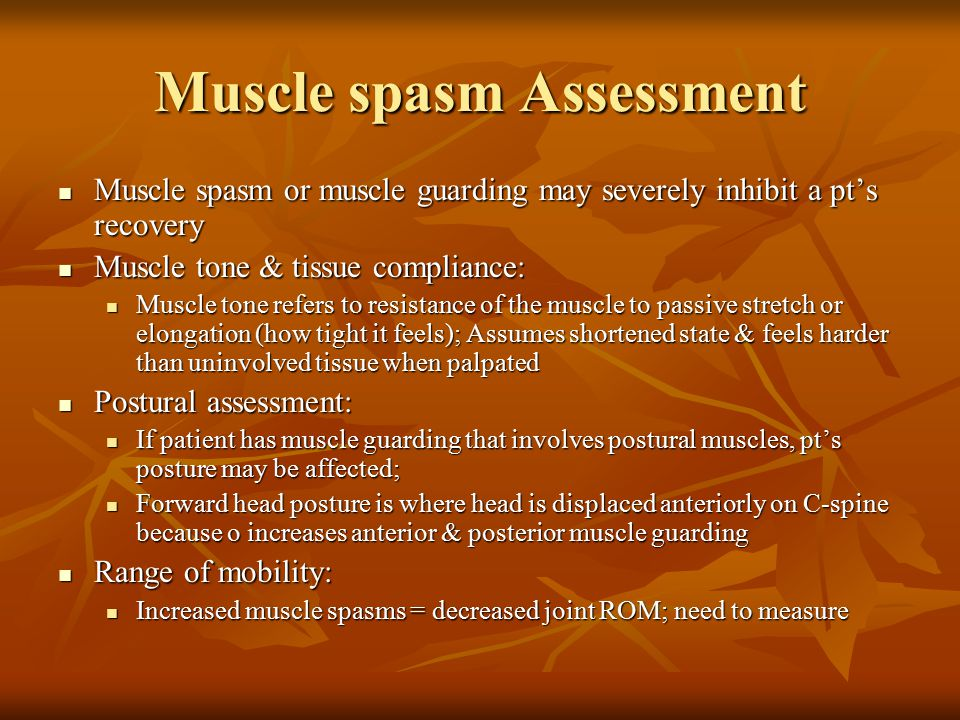 Muscle spasm Assessment