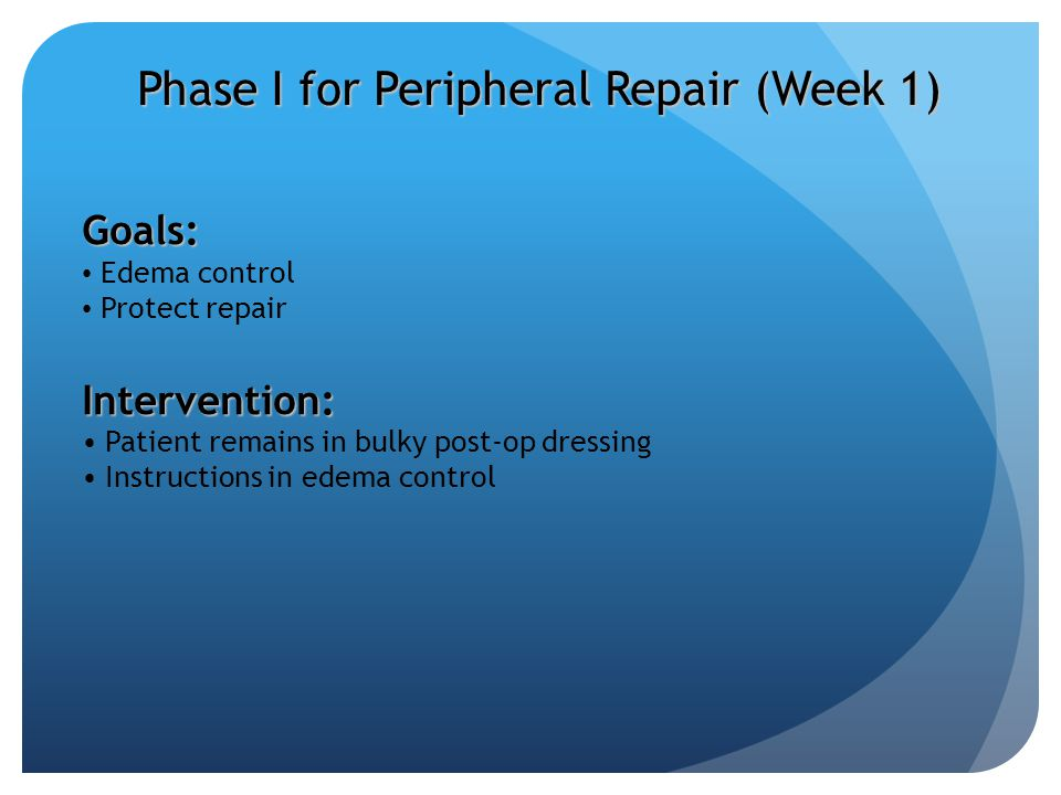 Phase I for Peripheral Repair (Week 1)