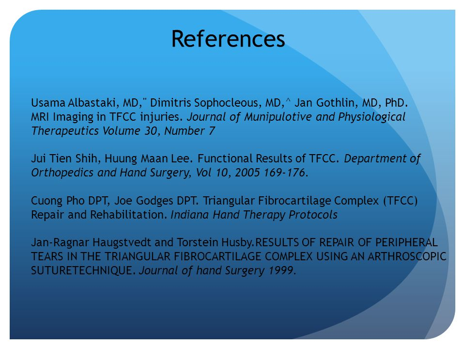 References Usama Albastaki, MD, Dimitris Sophocleous, MD,^ Jan Gothlin, MD, PhD.