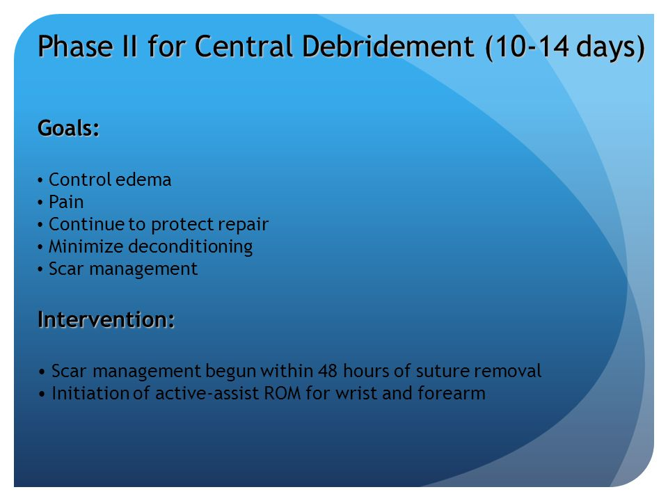 Phase II for Central Debridement (10-14 days)