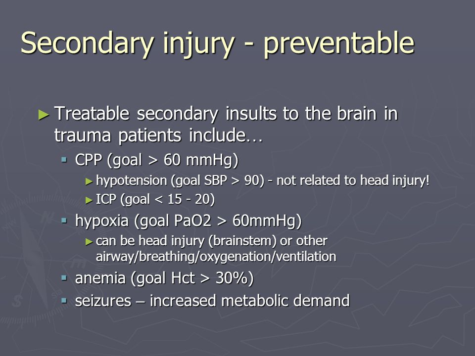 Secondary injury - preventable