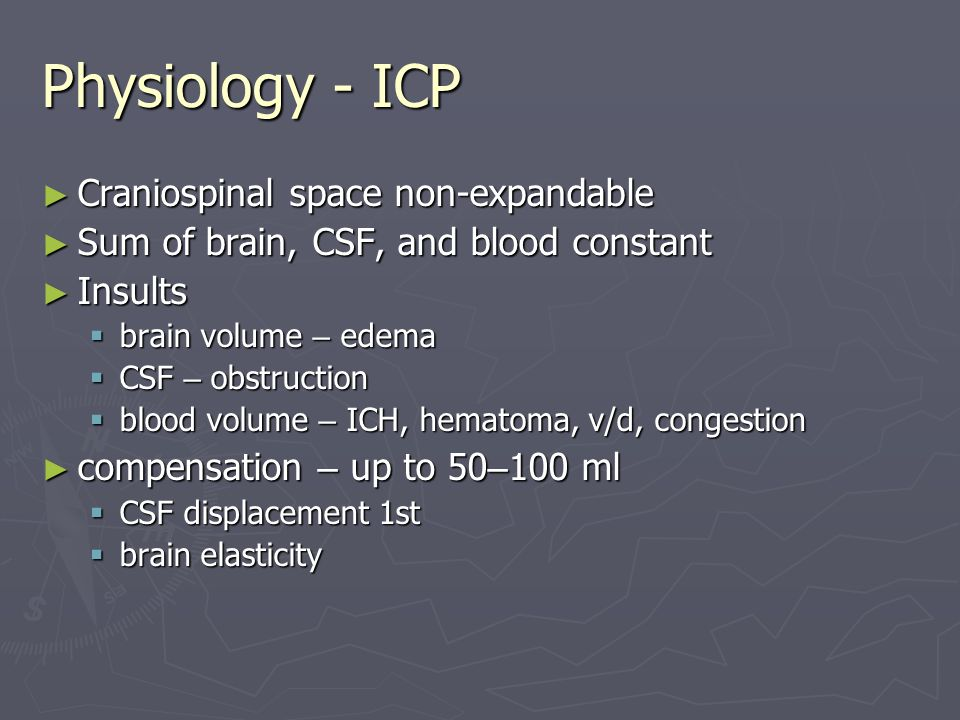 Physiology - ICP Craniospinal space non-expandable