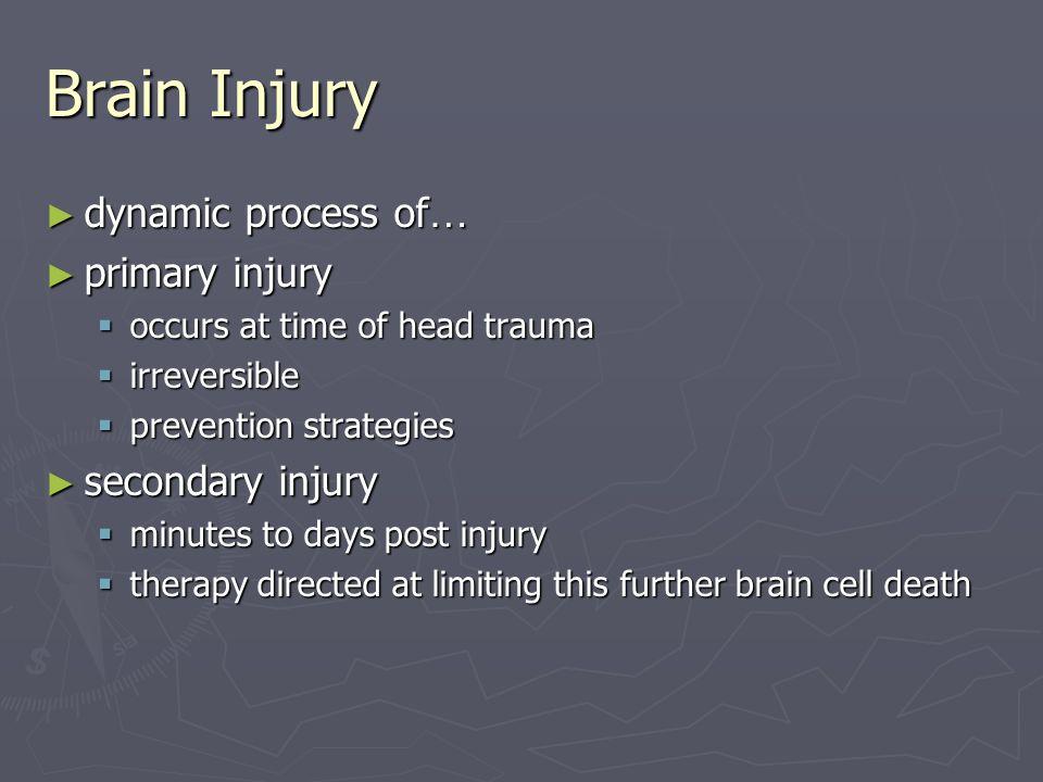 Brain Injury dynamic process of… primary injury secondary injury