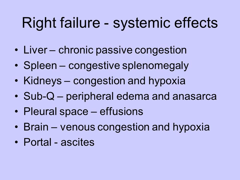 Right failure - systemic effects