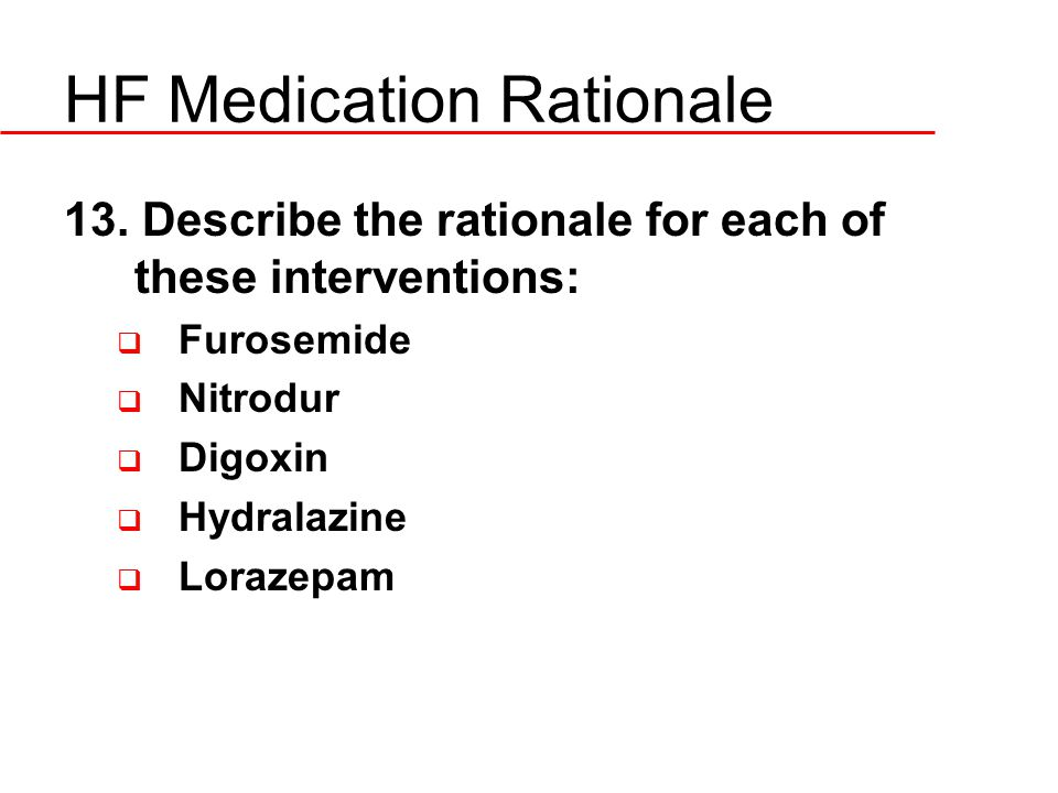 HF Medication Rationale