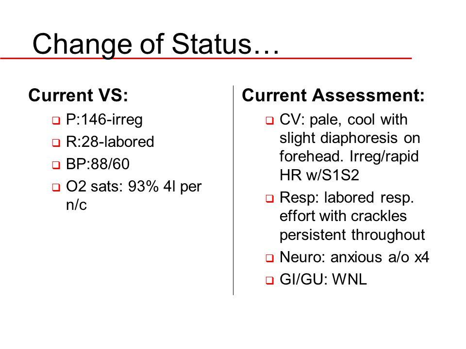 Change of Status… Current VS: Current Assessment: P:146-irreg